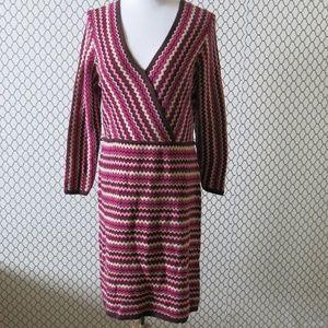 Donna Ricco Chevron Stripe Long Sleeve Knit Dress